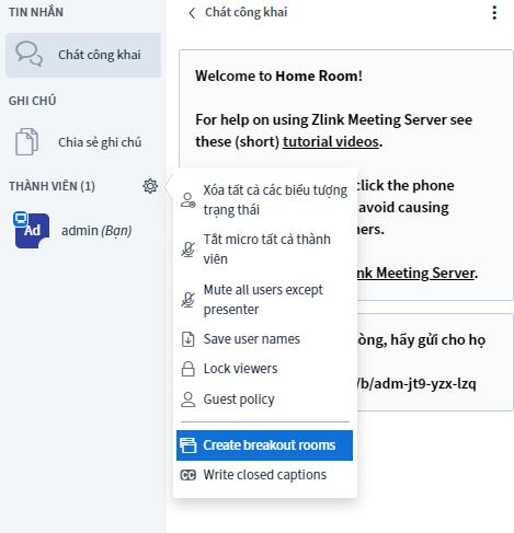 Zlink Cloud Meeting - Breakout Room