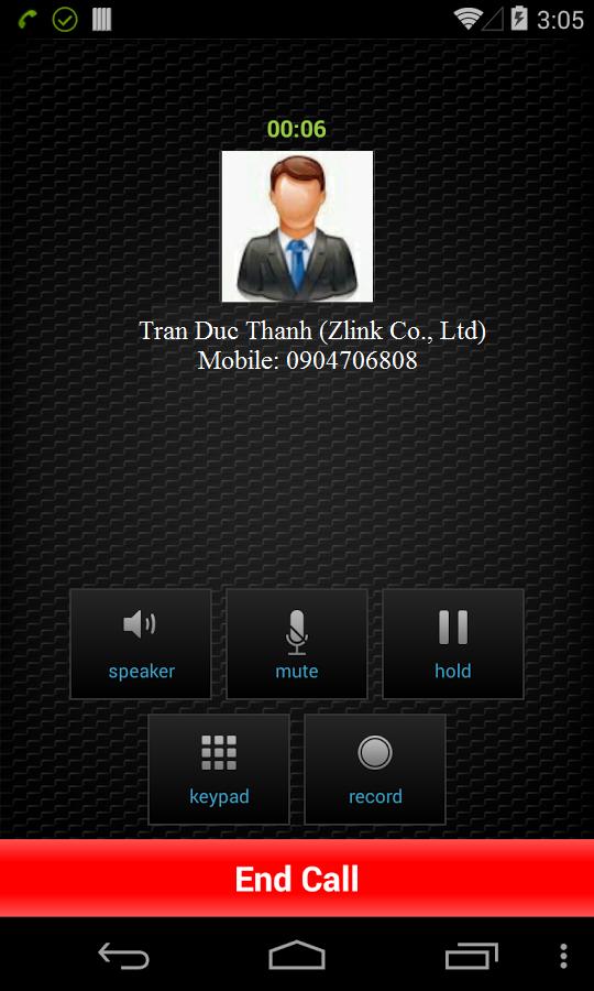 Zlink Caller ID show on Smartphone